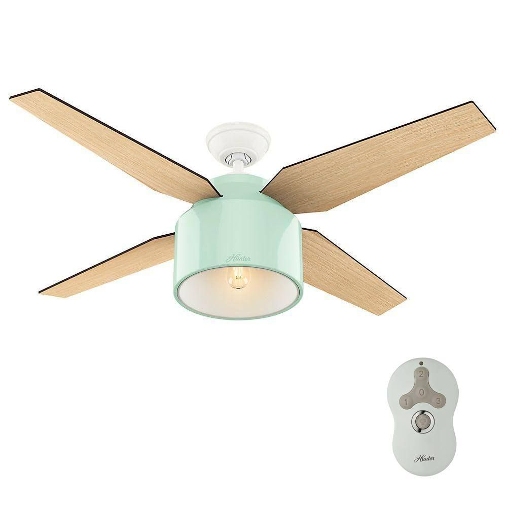 Hunter Cranbrook 52 In Indoor Mint Ceiling Fan With Led Light