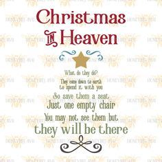 Christmas In Heaven Poem Svg.Pin On Cricut