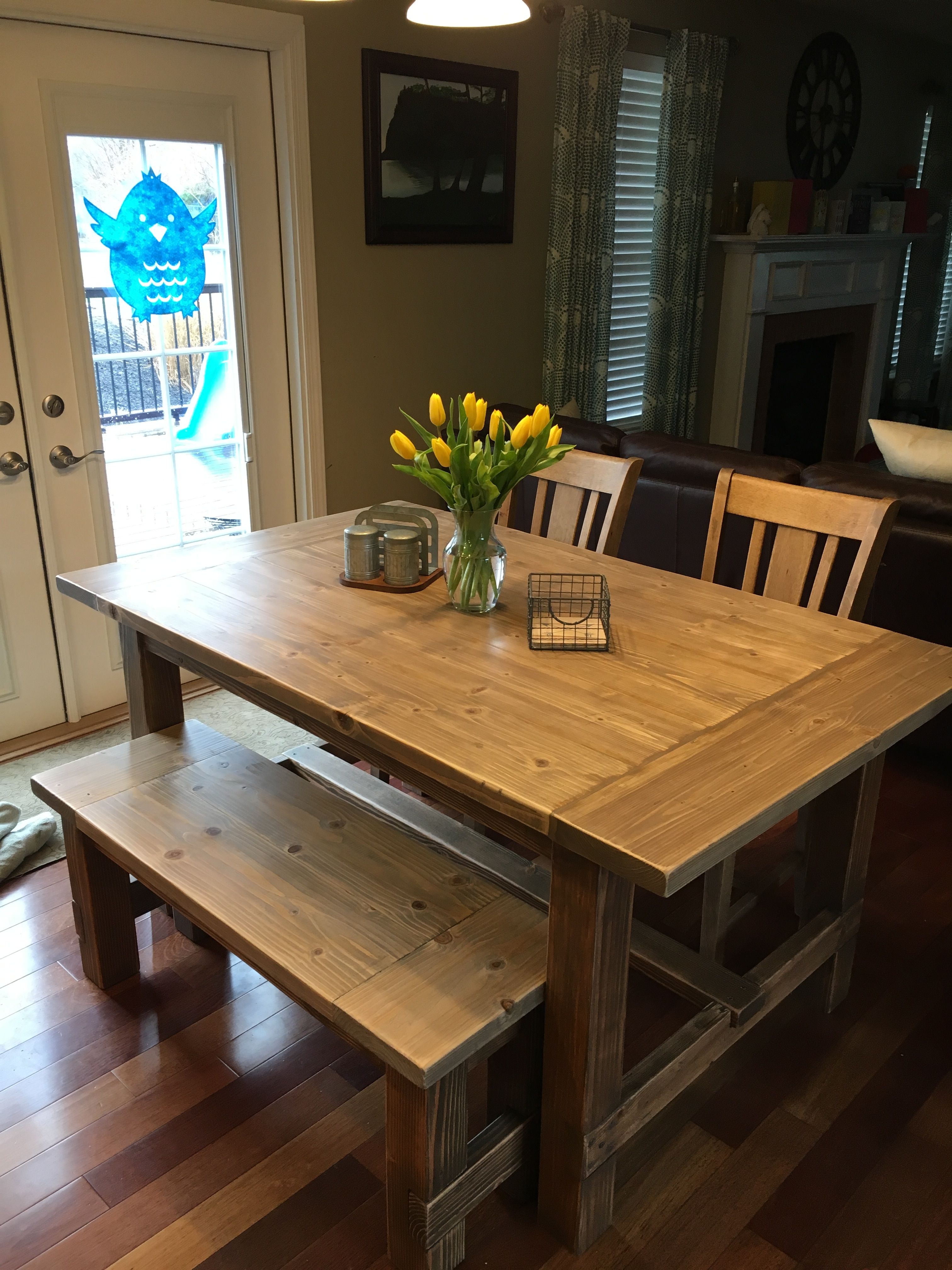 Outstanding Diy Farmhouse Table With Benches Used Plans From Ana White Machost Co Dining Chair Design Ideas Machostcouk