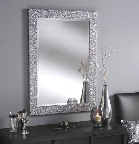 Sparkle Glitter Frame Bevelled Mirror 4, Silver Bathroom Mirrors
