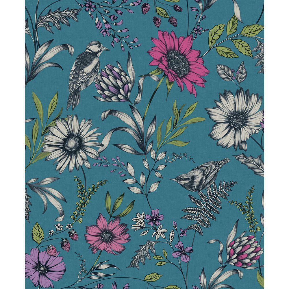 Arthouse Wallpaper Botanical Songbird Teal Teal