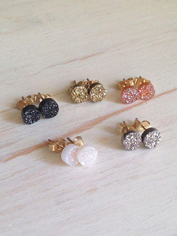 Druzy Studs Black Druzy Earrings Druzy Jewelry by RobinWoodard