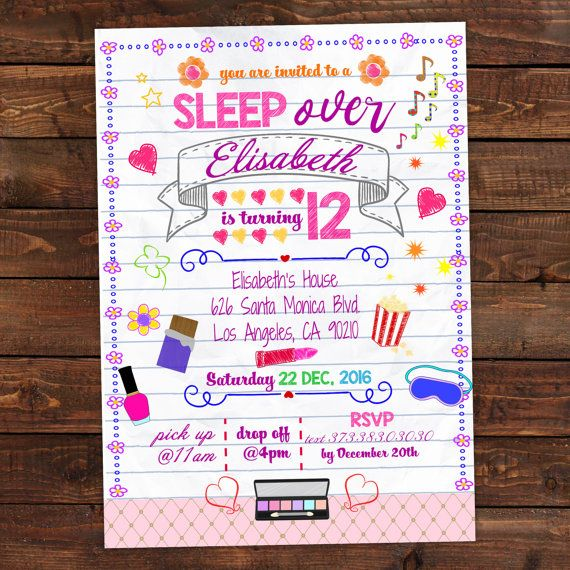 Girls Slumber Party Invitations for a sleepover party kids – Cute Slumber Party Invitations