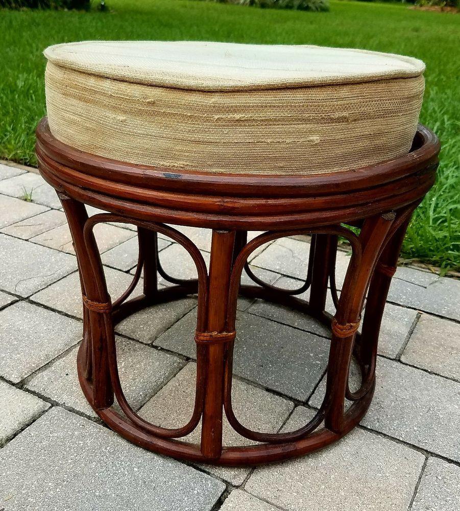 Bamboo rattan round ottoman footstool seat w/ cushion vintage mid ...