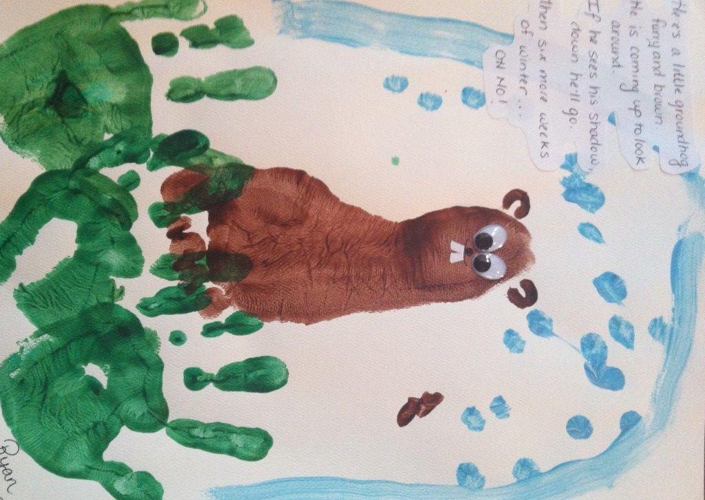 Handprint Groundhog Day Crafts Curious Little Kid Art Of