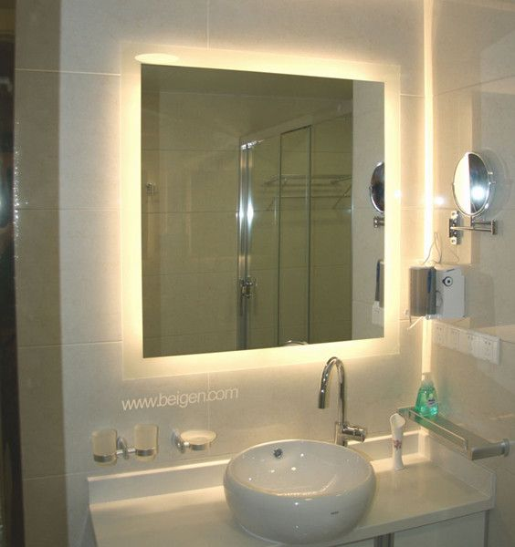 ... Alluring Wall Mirror With Led Lights 44 Light Up Inch Bathroom Vanity  Cabinets Large Size Of ...