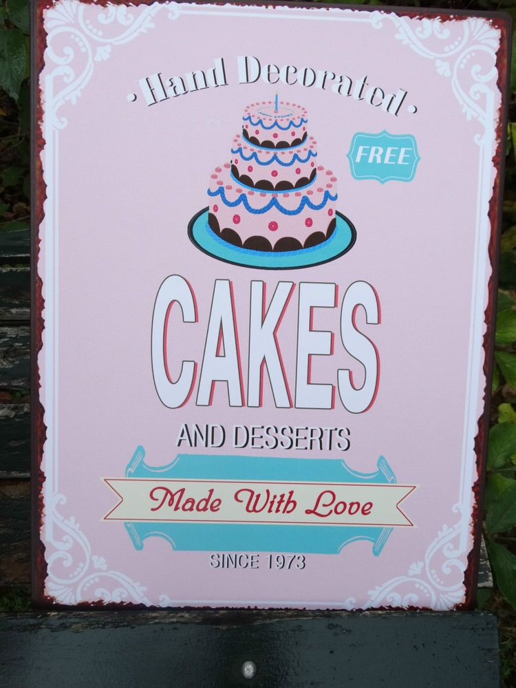 Lafinesse vintage schild cakes made with love metall shabby pink ...