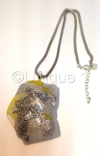 Yellow & Beige Fused Glass Necklace