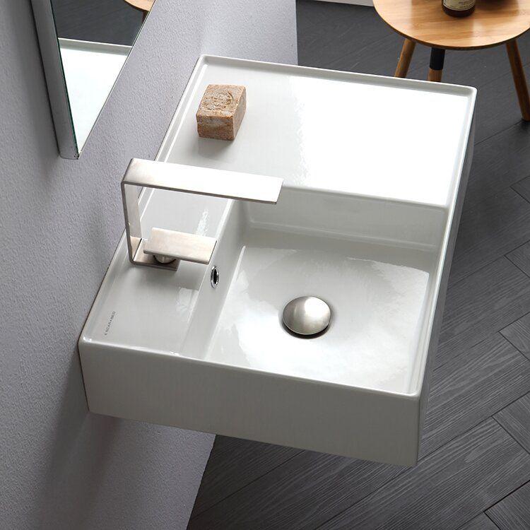 Teorema Ceramic Rectangular Vessel Bathroom Sink With Overflow Wall Mounted Bathroom Sinks Sink Bathroom Sink