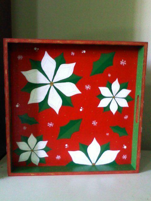 Bandeja de madera navidad mdf flores pintada por mi for Bandejas de navidad