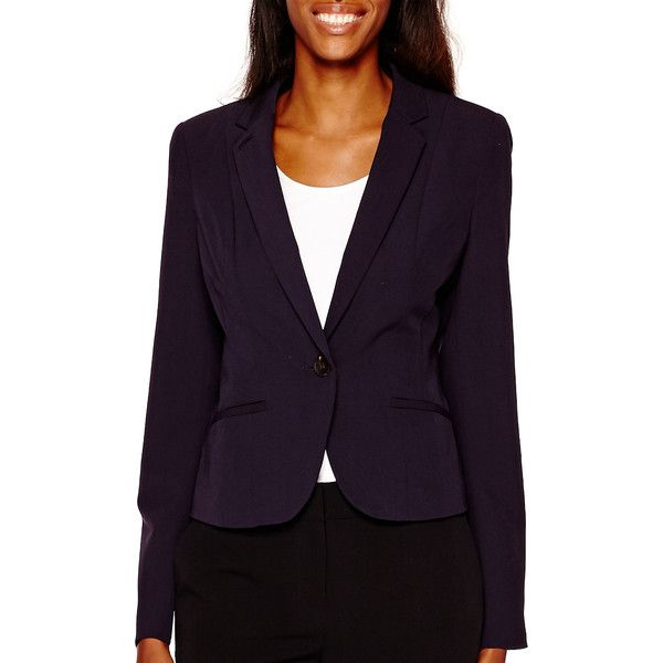 Worthington Suiting Blazer ($40) ❤ liked on Polyvore featuring outerwear, jackets, blazers, long jacket, worthington jacket, one button jacket, long purple jacket and worthington