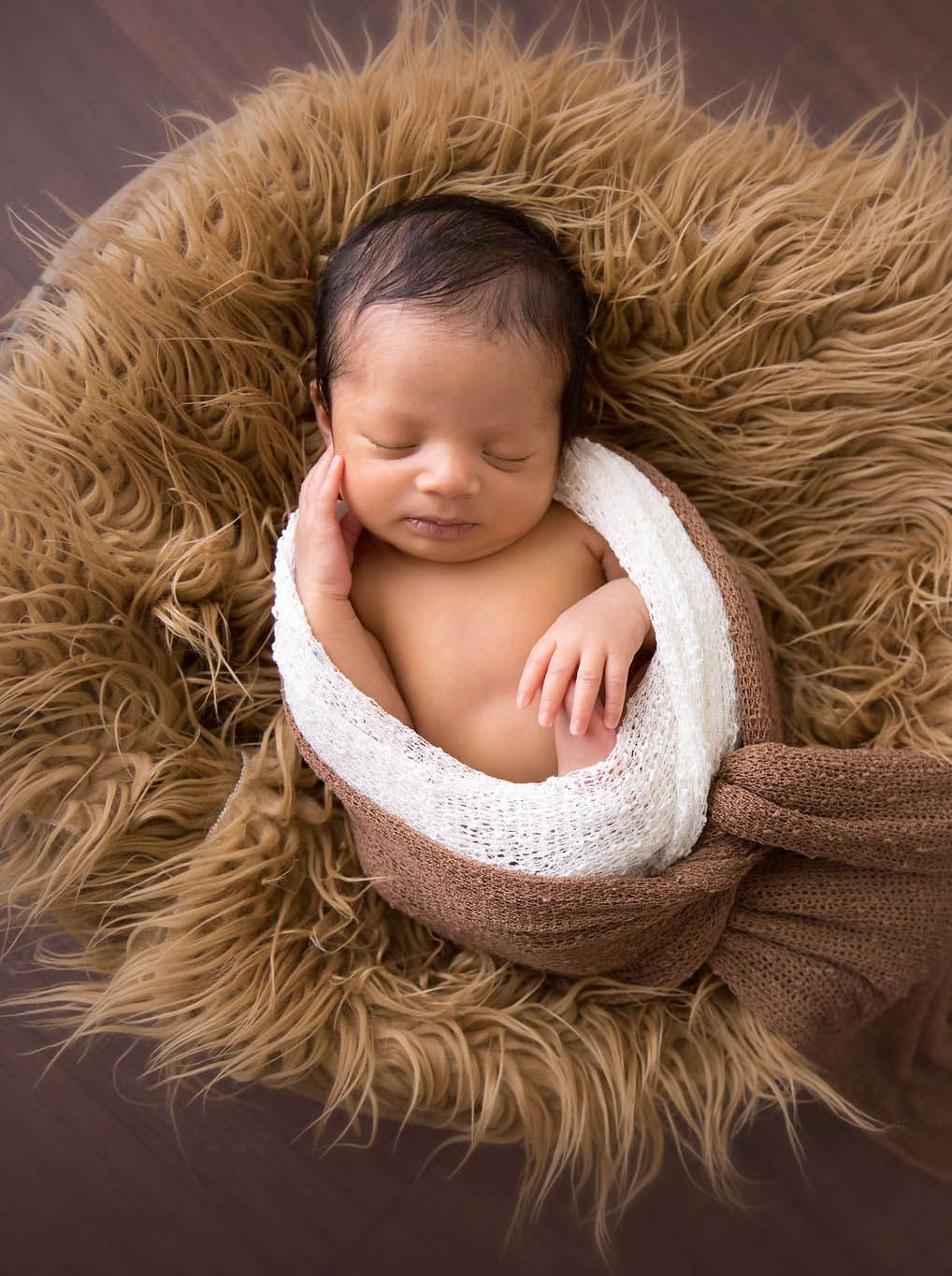 New born baby photoshoot in a basket