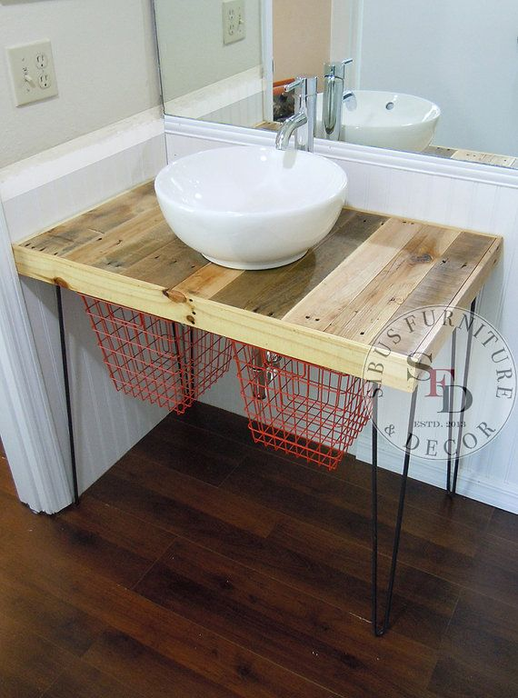 Reclaimed Pallet Wood Vanity Set On A Modern X2f Industrial Hairpin Leg Base Finished X2f Pallet Bathroom Reclaimed Wood Bathroom Vanity Diy Bathroom Vanity