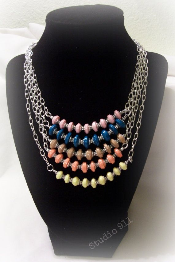 Delicate Discs Paper Bead Necklace 5 different lengths ...