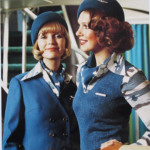 KLM stewardess in the seventies.