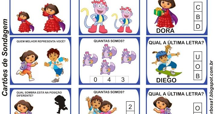 Cartoes Para Sondagem Dora Aventureira E Turma Da Monica