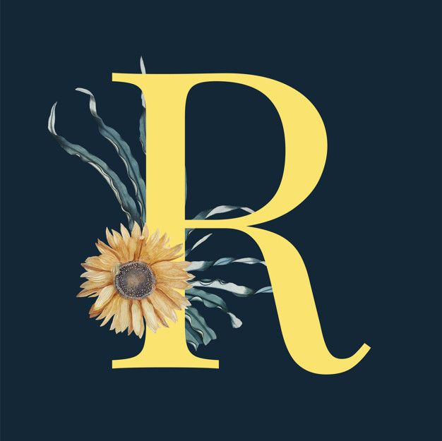 Letter r with blossoms Free Vector  Free Vector
