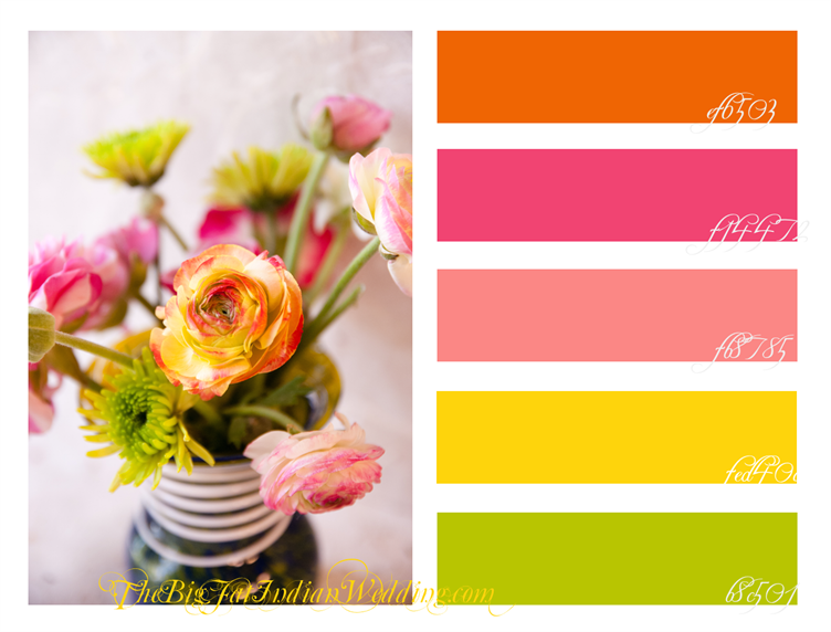 Decorating With Colors Mango: Summer Pastel Color Palette. Orange, Fuchsia, Dusty Rose