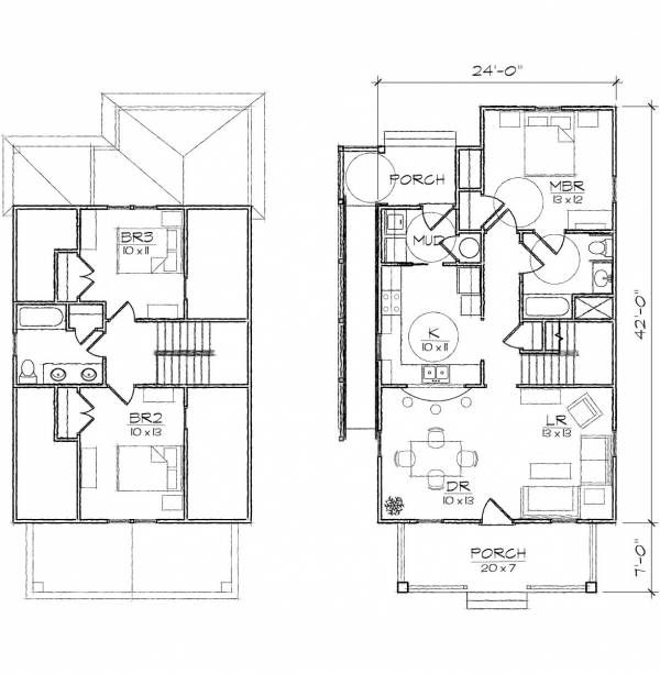Ansley II Accessible Bungalow Floor Plan 24x49 Craftsman House Plans