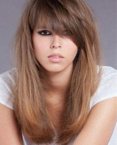 Cortes de cabello largo con flequillo para mujeres Cortes