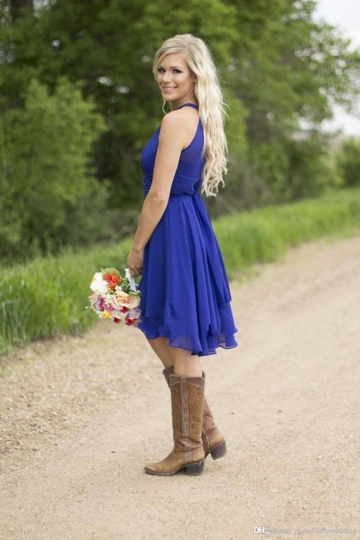 Cheap royal blue bridesmaid dresses hi lo knee length halter neck
