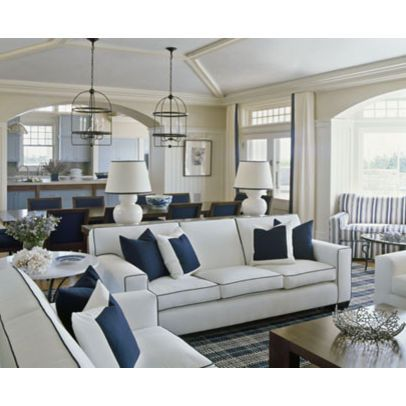White Sofa With Contrast Piping Beach House Living Room Blue And White Living Room Navy Living Rooms