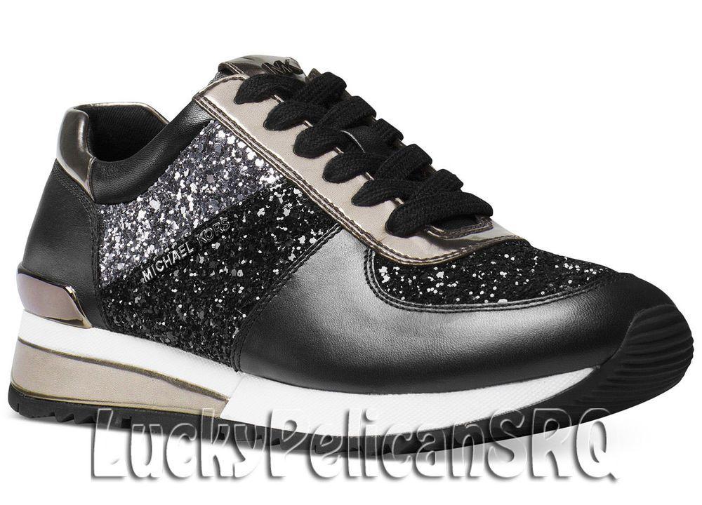 Michael Kors Allie Wrap Trainer Sneakers Black Sparkle M