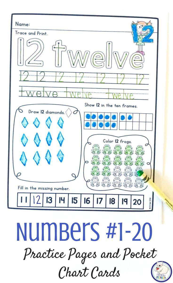 Number Worksheets And Pocket Chart Cards For Numbers 1 20 Pocket Chart Cards Pocket Chart Counting Worksheets For Kindergarten [ 1200 x 735 Pixel ]