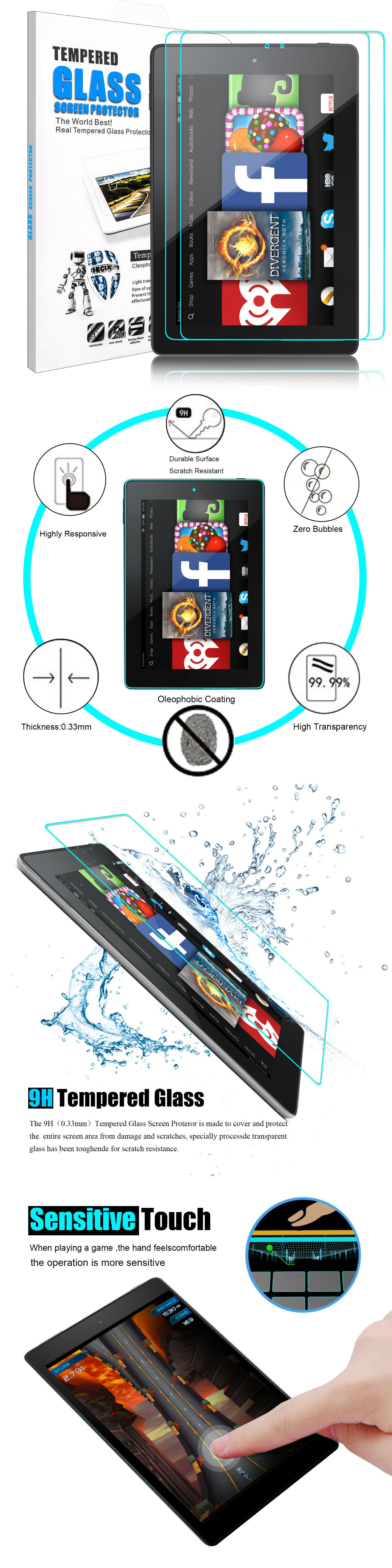 For Amazon Kindle Fire HD 8 2018//2017 Clear Tempered Glass Screen Protector Film