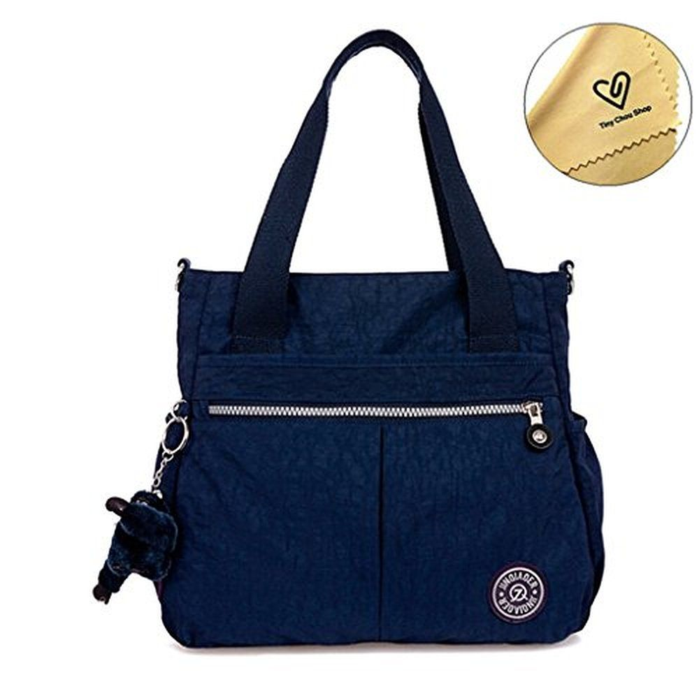 82fd88b40f Tiny Chou (TM) Water Resistant Nylon Tote Handbag Crossbody Messenger Bag  with Detachable Shoulder Strap