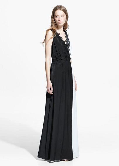 Vestido largo bicolor | MANGO