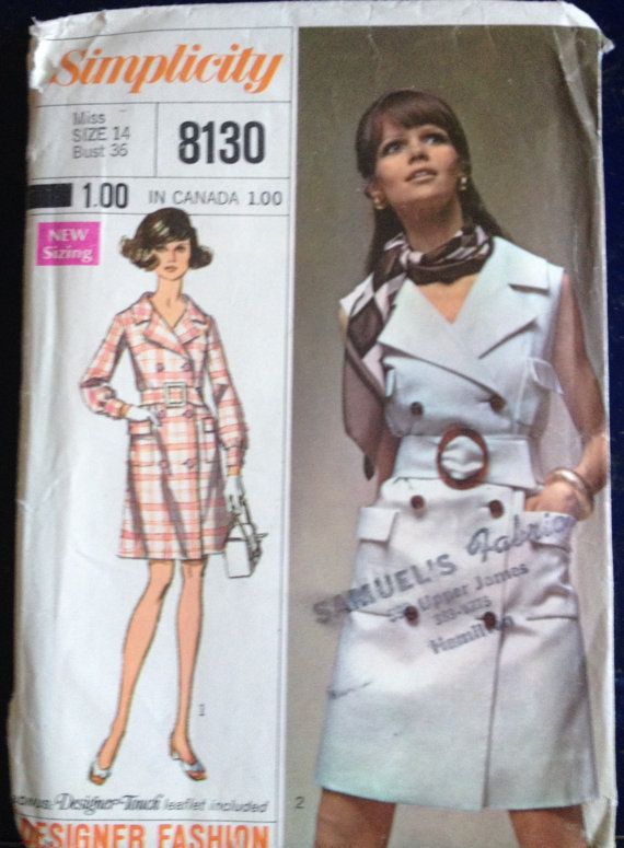 Vintage Simplicity 8130 Sewing Pattern for Coat Dress | Sewing ...