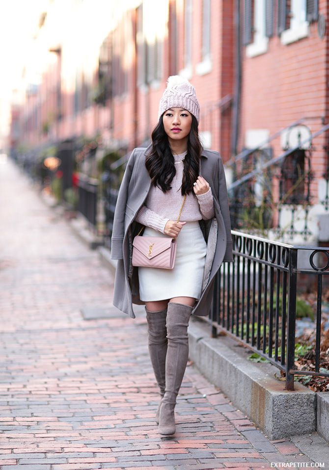 3df74f539a Boston taupe and pink winter outfit // j.crew petites coat, OTK boots, wool  skirt, knit beanie