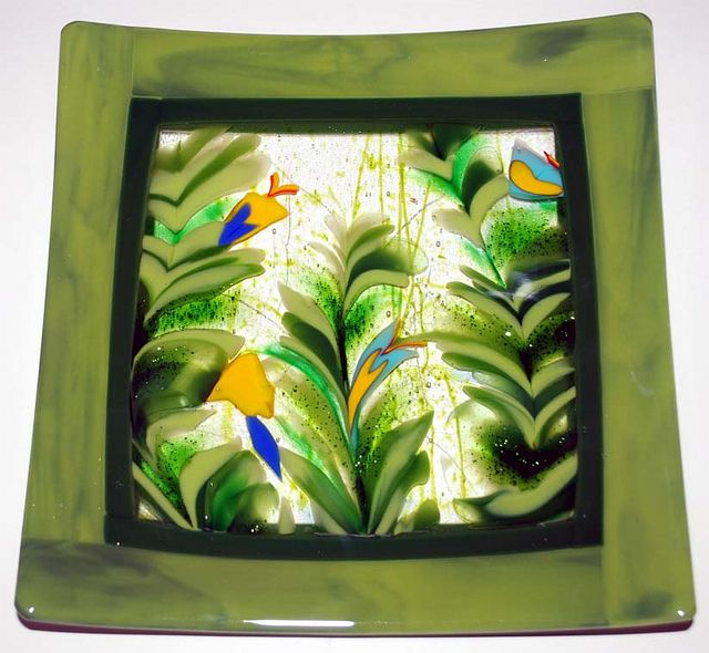 Fused Glass Fern Plate by Wesley's Glass/Mosaics, via Flickr