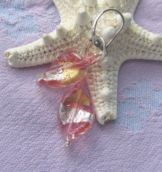 Rose Peach Murano Twist Earrings Sparkling Pink with by JemsbyJoan