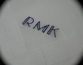 Hand Embroidered Men's Handkerchief -- Three Letter Monogram DECO Lite Font  -- Hand Embroidery