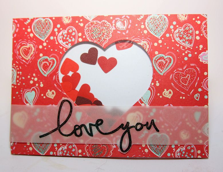 Valentine shaker card with Technique Tuesday stamped sentiment on vellum