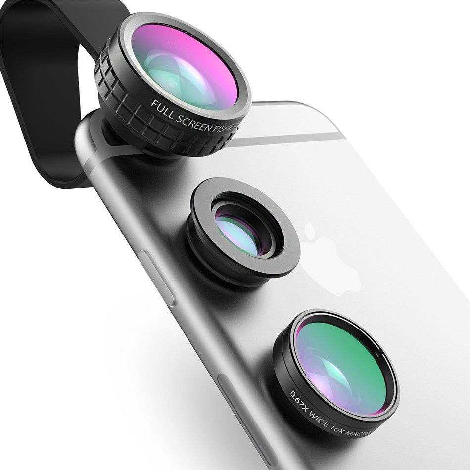 Aukey Fish Eye 3 In 1 Clip On Cell Phone Camera Lens Phone Lens