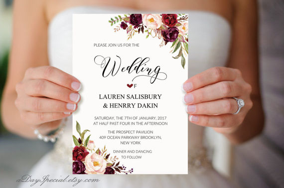 Burgundy Floral Wedding Invitation Template, Printable 5x7 Watercolor Wedding Invites, Fits Vistapri