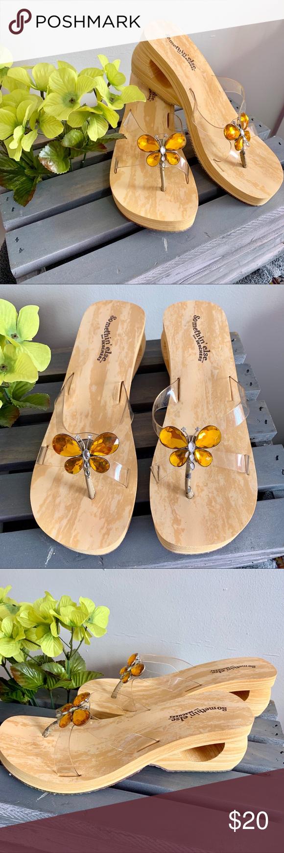 64bf961106e3 Skechers Somethin  Else Wedge Sandals Faux Wood Skechers Somethin  Else  Wedge Sandals. Foam