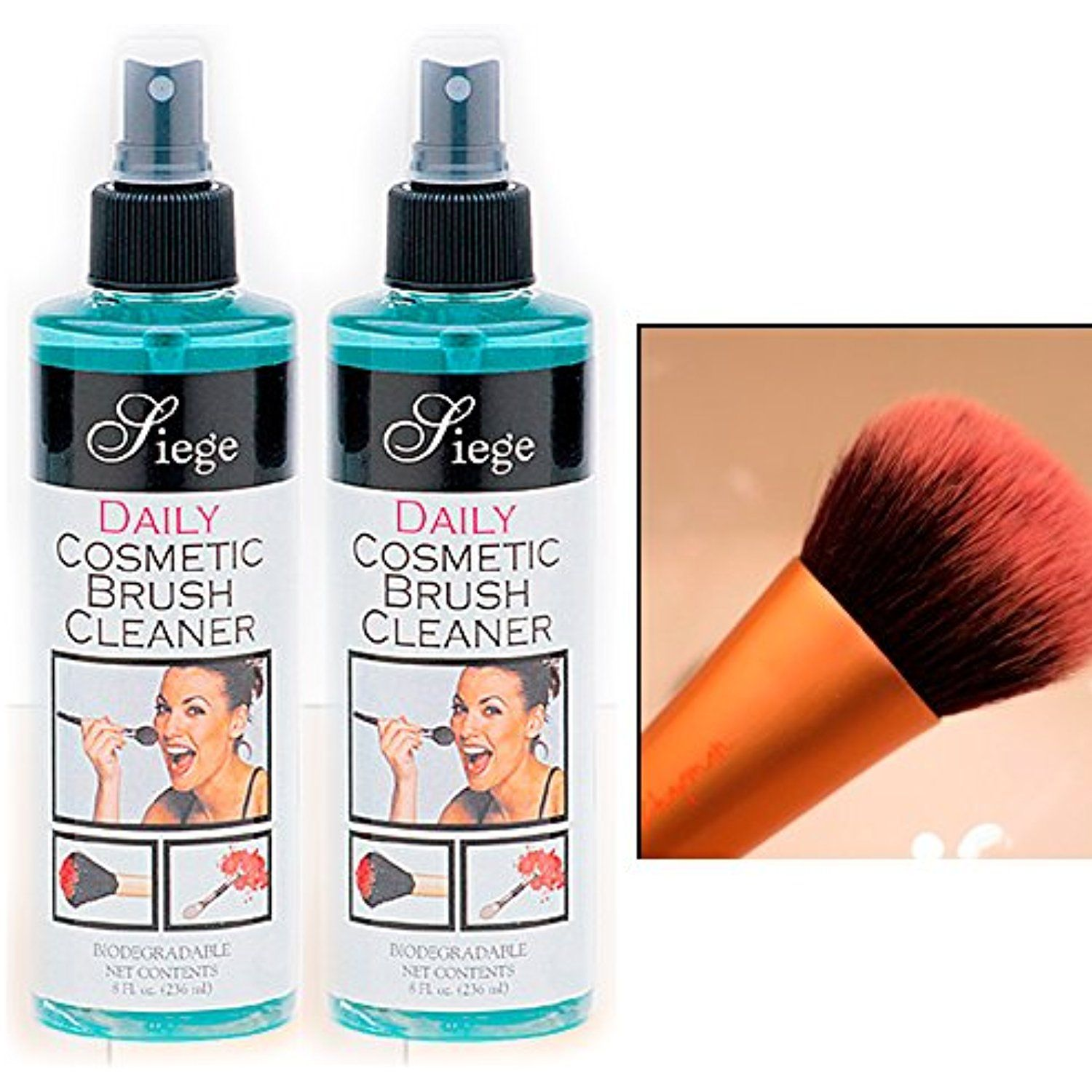 2 Bottles Cosmetic Brush Spray Cleaner Make Up