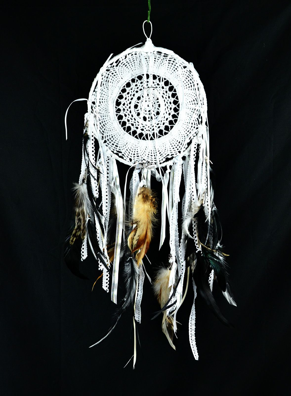 Wholesale Dream Catchers Unique White Doily Dream Catcher With Feathers Ribbon And Charmswholesale 2018