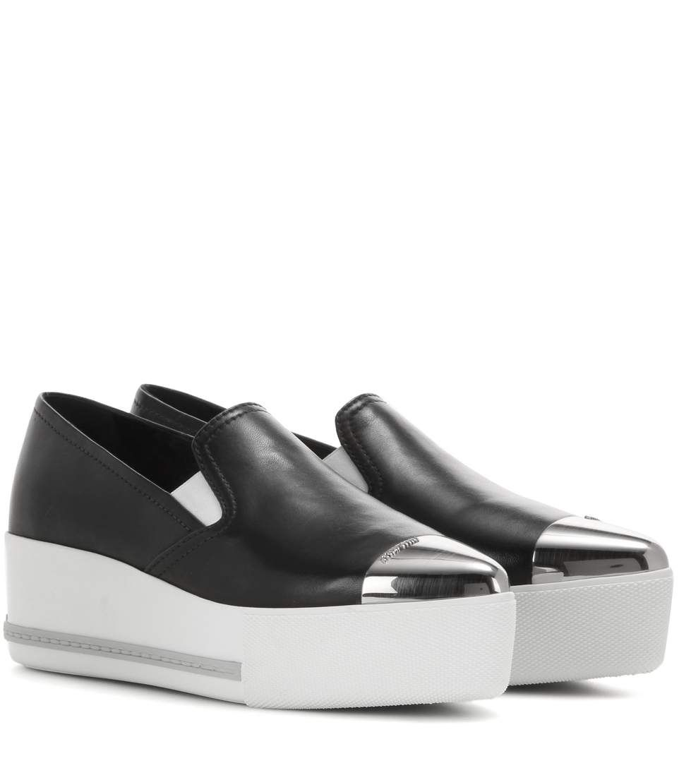 Miu Miu Leather slip-on platform sneakers VOETkS9