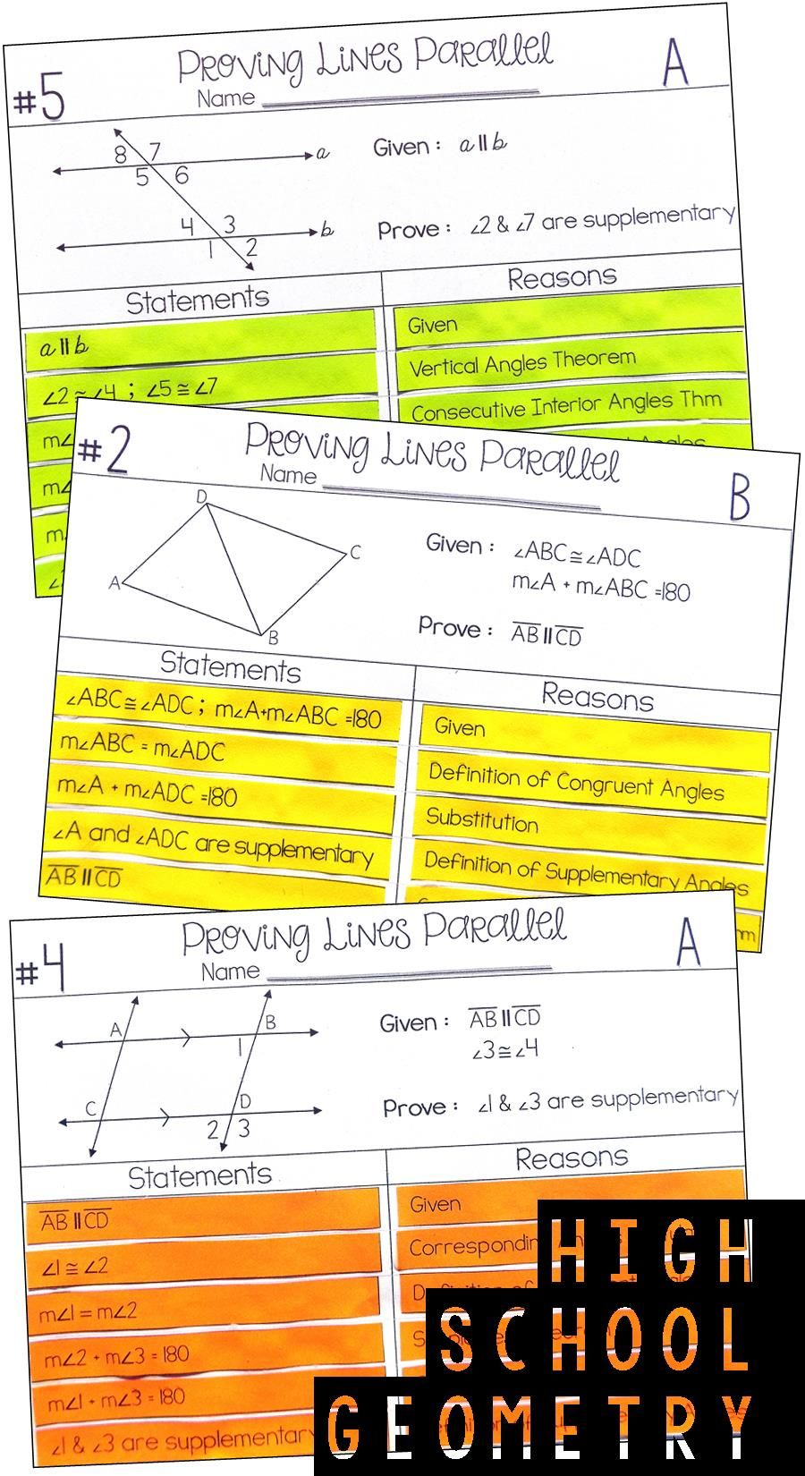 Proving Lines Parallel Proof Activity Geometry proofs