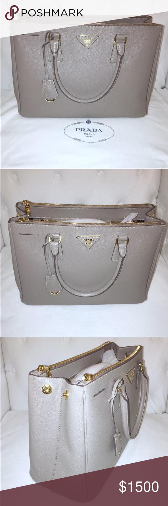 2a6a2cfee9 Prada Saffiano medium Grey Taupe Handbag Brand New never used Prada  Saffiano Medium Grey