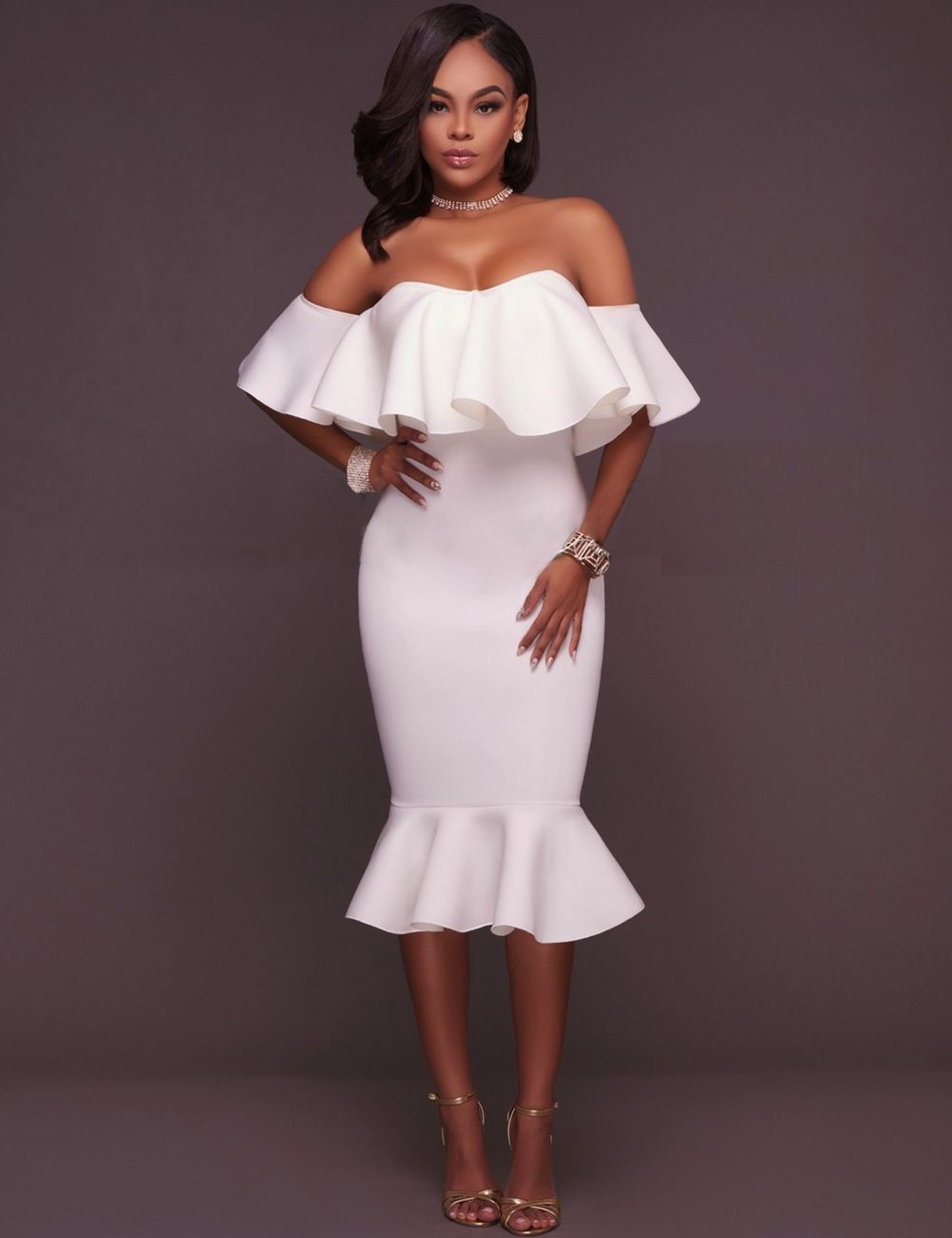 af54eb1a63fa4 Plus Size White Off-Shoulder Ruffle Bodycon Mermaid Party Dress in ...