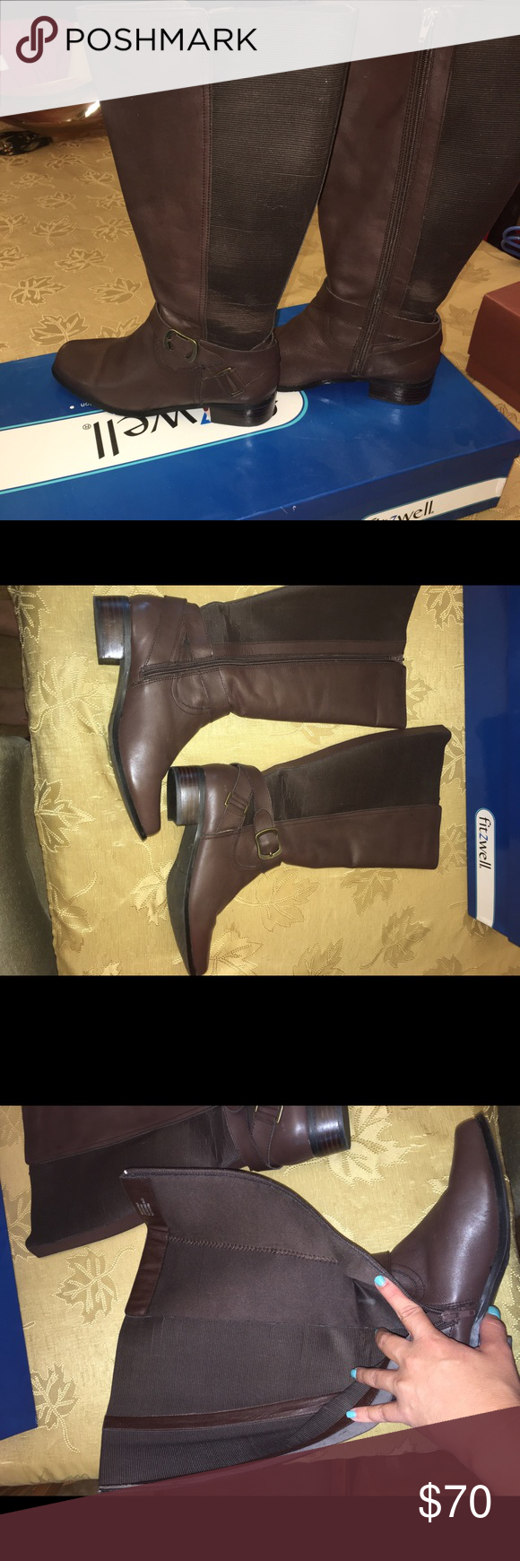 Brown leather wide calf boots Brown leather wide calf boots with stretch panel to fit comfortably. Fits 18 inch calfs very well. Very comfortable. Perfect riding boots to complete any fall or winter outfit. Fitzwell Shoes Heeled Boots