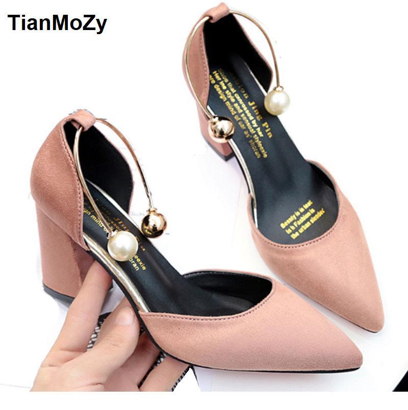 7497e4df8a4 2018 women sandals high heels summer women shoes gladiator sandals block  heels pearl strap women pumps chunky heels shoes