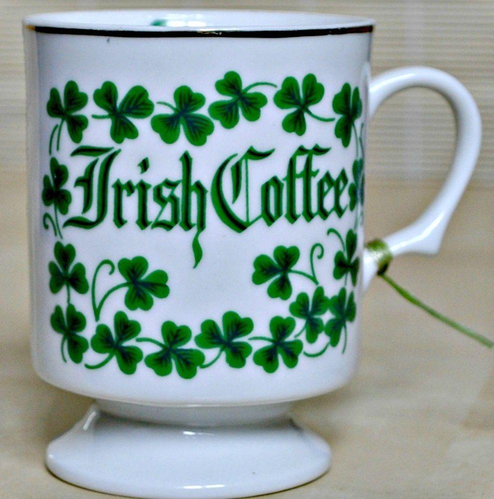 Vintage Irish Coffee Mug Shamrock Leprechaun Blessing Tea