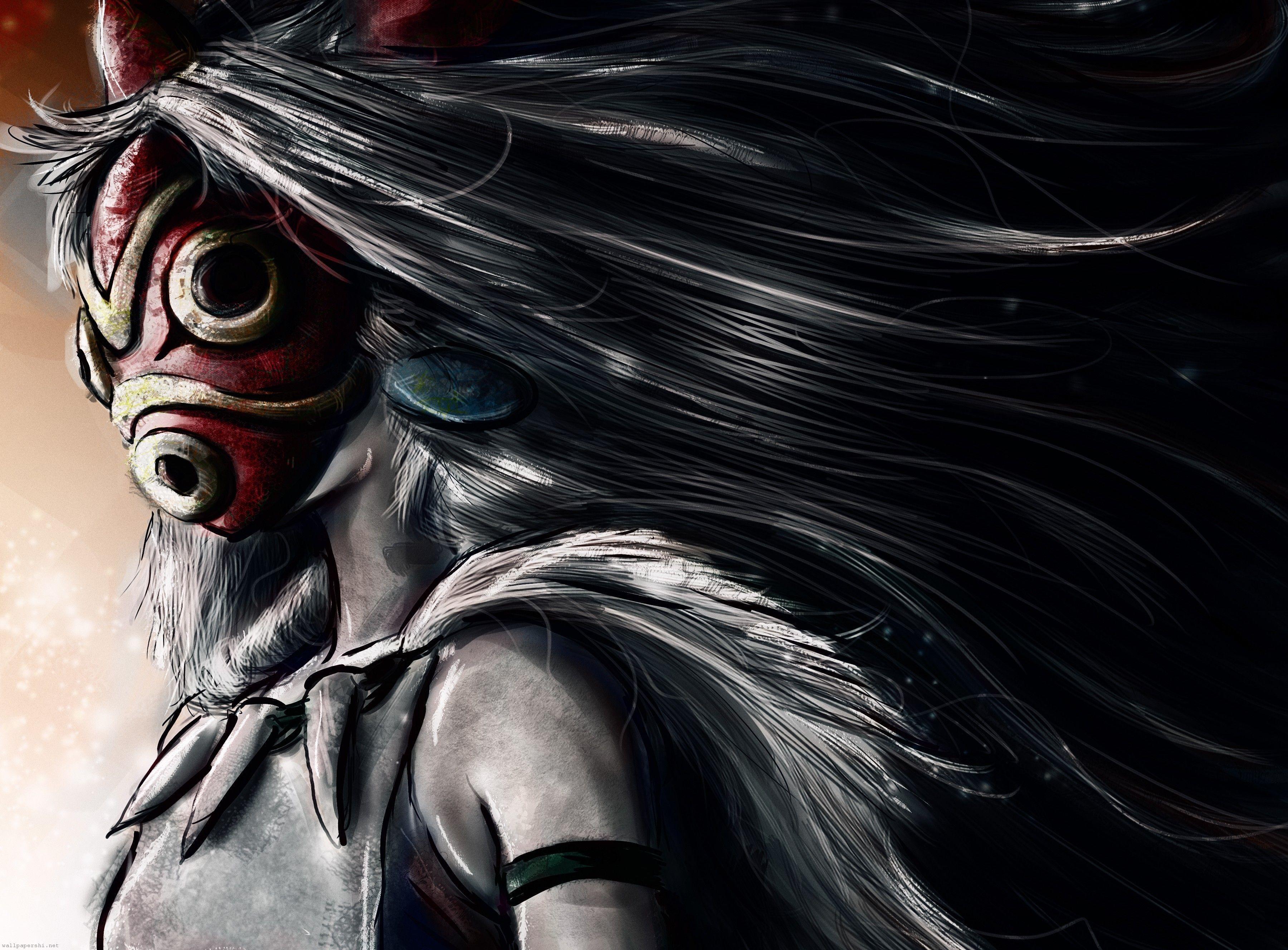 Mononoke hime art girl mask fur princess mononoke - Mononoke anime wallpaper ...